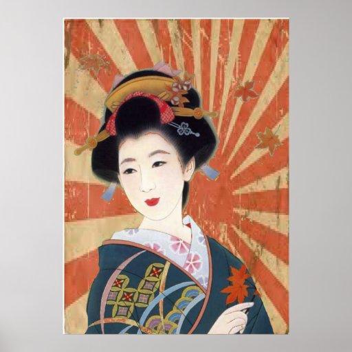 Vintager Sun Rays den japanischen Retro Geisha Plakate