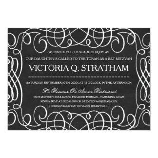 Vintager Tafel-Schläger Mitzvah lädt ein 12,7 X 17,8 Cm Einladungskarte