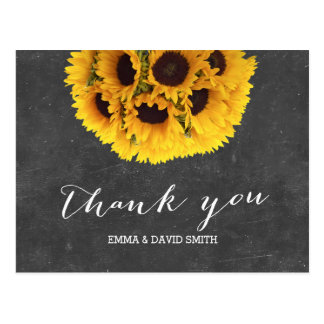 Vintager Tafel-Sonnenblume-Ball danken Ihnen Postkarte