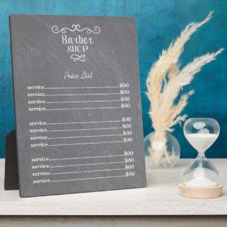 Vintager Tafelfriseurgeschäfts-Weiß-Wirbel Fotoplatte