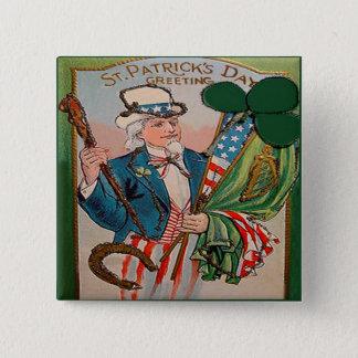 Vintager Tag 21 St. Patricks Quadratischer Button 5,1 Cm