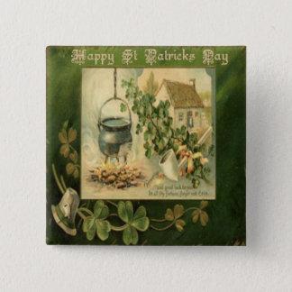 Vintager Tag 6 St. Patricks Quadratischer Button 5,1 Cm
