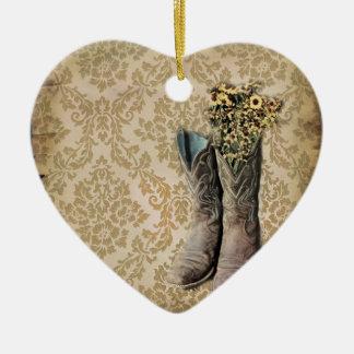 Vintager tan Damast-Western-Landcowboy Keramik Ornament