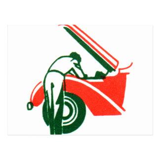 Vintager Tankstelle-Mechaniker-grafische Postkarte