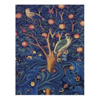 Vintager Tapisserie-Vogel-Blumenentwurfs-Specht Postkarte