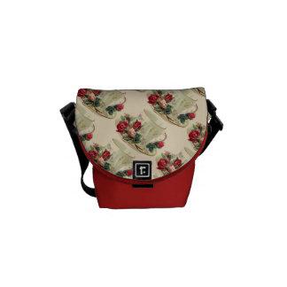 Vintager Teacup u. Rosen-Minibote-Tasche Kurier Taschen