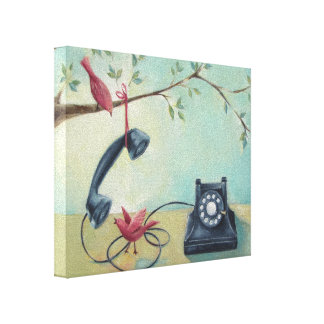 Vintager Telefon-u. Vogel-wunderlicher Leinwanddruck