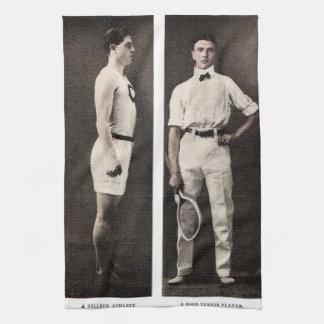Vintager Tennis-Spieler-Uni-Athlet Küchentuch