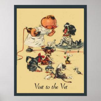 Vintager tierärztlicher Besuch zum Tierarzt Poster
