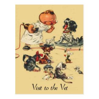 Vintager tierärztlicher Besuch zum Tierarzt Postkarte