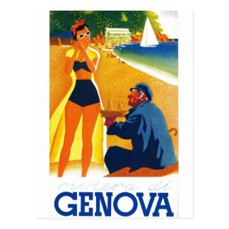 Vintager Tourismus Genua Italien Postkarte