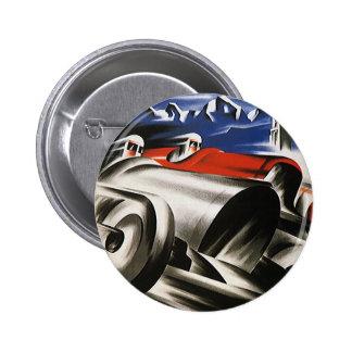 Vintager Transport, Sport-Rennen-laufende Autos Runder Button 5,1 Cm
