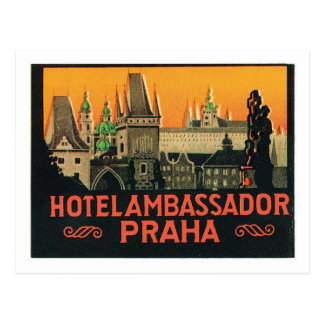 Vintager Tschechische Republik-Hotel-Aufkleber Rei Postkarte