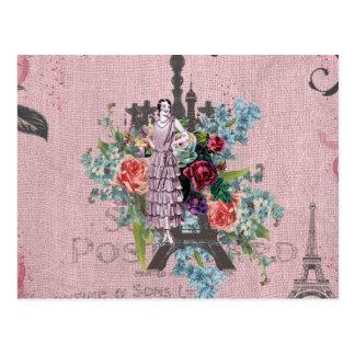 Vintager Turm Mädchen Corloful Rosen-Paris Eiffel Postkarte