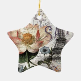 Vintager Turm Paris Eiffel der girly Lotos-Blume Keramik Ornament