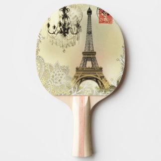 Vintager Turm Paris Eiffel der Tischtennis Schläger
