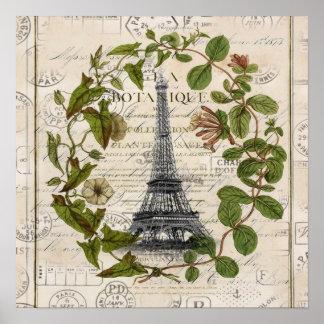 Vintager Turm Paris Eiffel des girly botanischen Poster