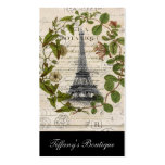 Vintager Turm Paris Eiffel des girly botanischen Visitenkarten