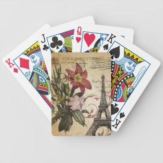Vintager Turm Paris Eiffel Skripte der botanischen Bicycle Spielkarten