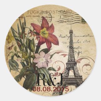 Vintager Turm Paris Eiffel Skripte der botanischen Runder Aufkleber