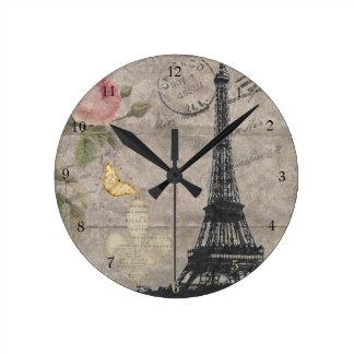 Vintager Turm-Rosen-SchmetterlingGrunge Paris Eiff Wanduhren