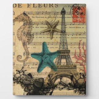 Vintager Turm-Strand Seashell Paris Eiffel Fotoplatte