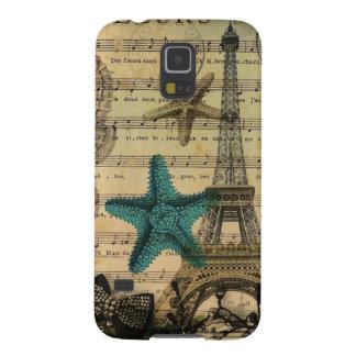 Vintager Turm-Strand Seashell Paris Eiffel Samsung Galaxy S5 Cover