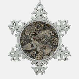 Vintager Uhr-Gang-Mechanismus Schneeflocken Zinn-Ornament