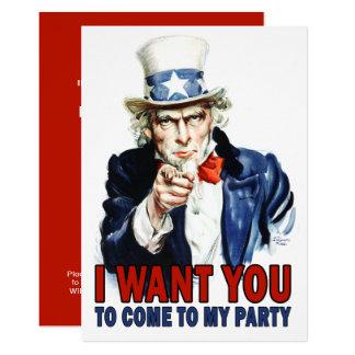Vintager Uncle Sam - Gekommen zu meinem Party Karte