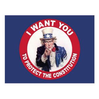 Vintager Uncle Sam WILL ICH SIE - Konstitution Postkarte
