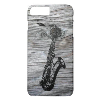 Vintager und rustikaler Saxophone auf altem Holz iPhone 8 Plus/7 Plus Hülle
