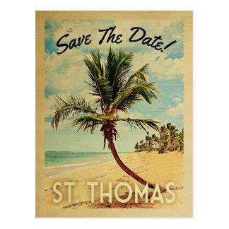 Vintager USVI Strand St Thomas Save the Date Postkarte