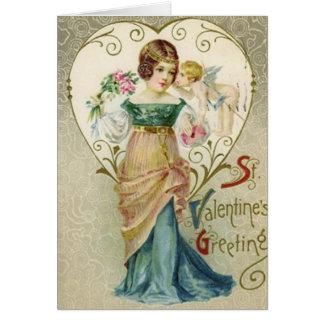 Vintager Valentine-Gruß mit Dame und Cherib Karte