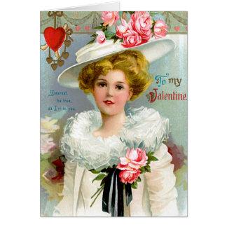 Vintager Valentine mit Frau im weißen Hut Karte