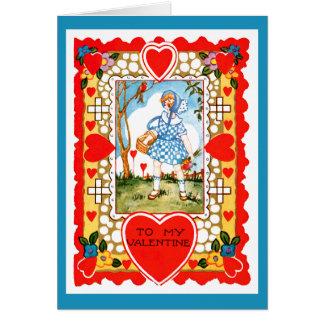 Vintager Valentine mit Mädchen im Blau Karte