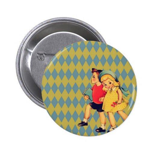 Vintager Valentinstag der Kunst niedliche retro Ki Buttons