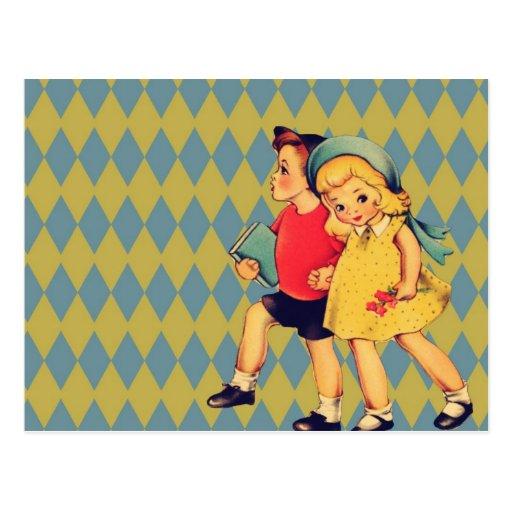 Vintager Valentinstag der Kunst niedliche retro Ki Postkarte