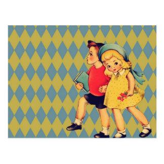 Vintager Valentinstag der Kunst niedliche retro Postkarte