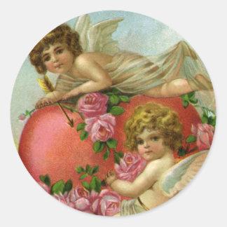 Vintager Valentinstag-viktorianische Runder Aufkleber
