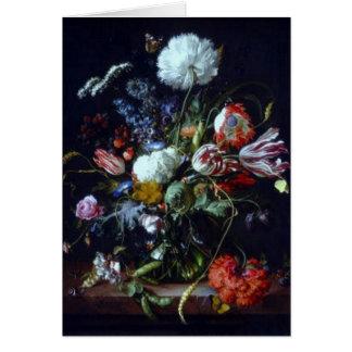 Vintager Vase Blumen durch de Heem Card Karte