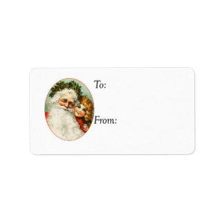 Vintager Vater-Weihnachts-und Kindergeschenk-Umbau Adressaufkleber