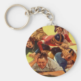 Vintager Vati, der Kinder des Fußball-w und Schlüsselanhänger