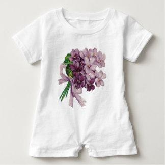 Vintager Veilchennosegay-Blumenstrauß Baby Strampler
