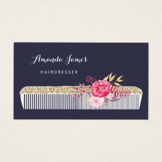 Vintager verzierter Friseur-Kamm mit rosa Blumen Visitenkarte