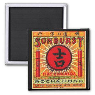 Vintager viel GlückFirecracker 2 Quadratischer Magnet