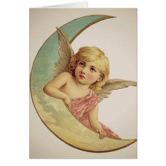 Vintager viktorianischer Engel, der auf dem Mond Karte