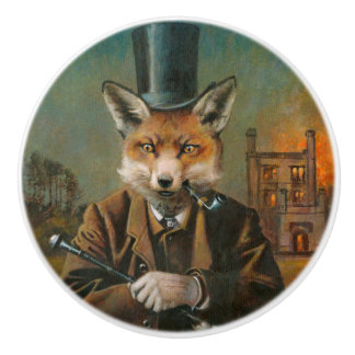 Vintager viktorianischer Fox-Keramik-Griff Keramikknauf