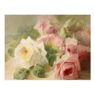Vintager viktorianischer RoseWatercolor Postkarte