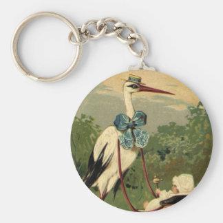 Vintager viktorianischer Storch und Kinderwagen Schlüsselanhänger