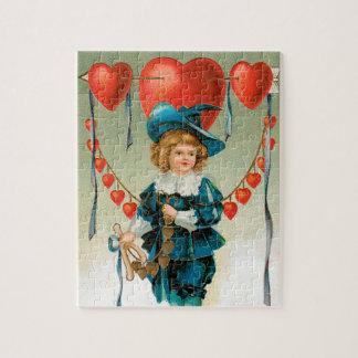 Vintager viktorianischer Valentinstag, Junge mit Puzzle